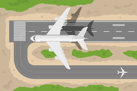 Illustrazione per picture of a civilian plane taking-off fromm landing strip, flat style illustration - Immagini Royalty Free