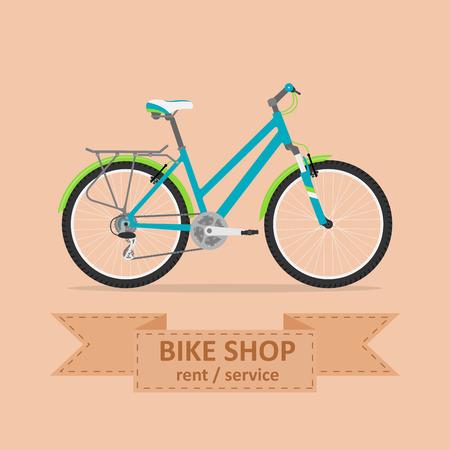 Illustration pour picture of a comfort bicycle, flat style illustration - image libre de droit