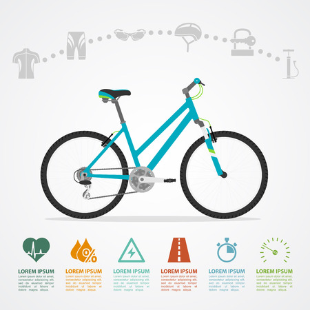 infographic template with bicycle and icons, flat style illustration