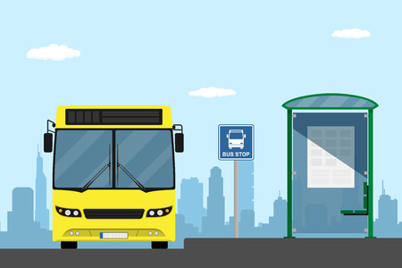 Illustration pour picture of a yellow city bus on a bus stop, flat style illustration - image libre de droit