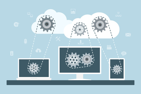 Illustration pour Cloud computing concept. Data storage network technology. PC, laptop and tablet connected to the clouds with gear transmission. Flat style illustration. - image libre de droit