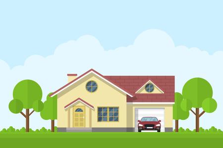 Ilustración de picture of a privat living house with garage and car, flat style illustration - Imagen libre de derechos