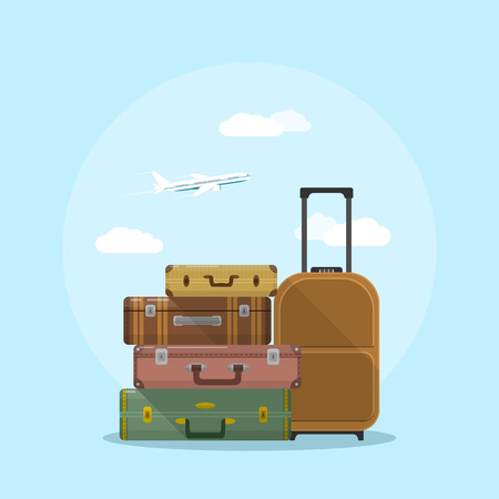 Ilustración de picture of suitcases stack with clouds and plane on background, flat style illustration, vacation and travel concept - Imagen libre de derechos