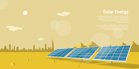 Ilustración de picture of solar batteries in a desert with mountains and big city silhouette on background, flat style concept of renewable solar energy - Imagen libre de derechos