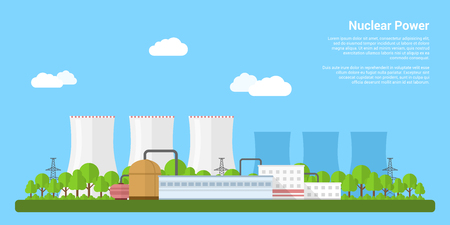 Illustration for picture of nuclear power plant, flat style banner concept of power generation concept - Royalty Free Image