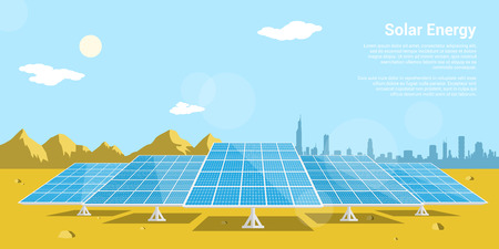 Illustration pour picture of solar batteries in a desert with mountains and big city silhouette on background, flat style concept of renewable solar energy - image libre de droit