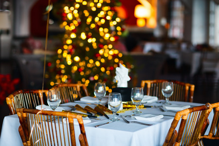 Photo for Beautiful table setting for Christmas party or New Year celebration in restaurant - Royalty Free Image