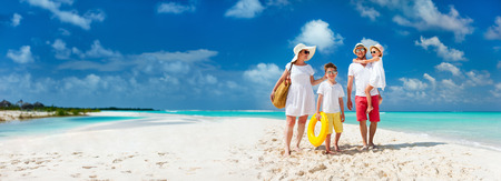 Foto für Panorama of happy beautiful family with kids walking together on tropical beach during summer vacation - Lizenzfreies Bild