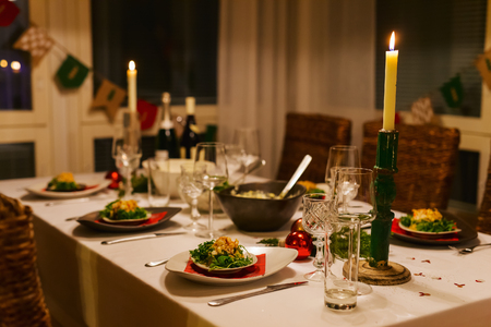 Photo for Beautiful table setting for Christmas party or New Year celebration at family home - Royalty Free Image