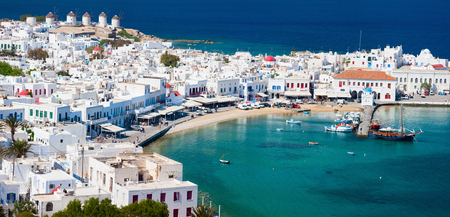 Photo for Panorama of traditional greek village with white houses on Mykonos Island, Greece, Europe - Royalty Free Image