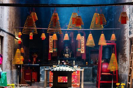Foto de Circular incenses burning in Chinese temple in Macau - Imagen libre de derechos