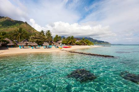 Foto de Beautiful beach on Moorea island in French Polynesia - Imagen libre de derechos