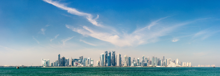 Photo for Panoramic view of Doha Qatar skyline on sunny day - Royalty Free Image