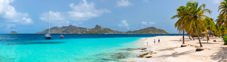 Photo for Panorama of mother and kids enjoying tropical beach vacation on exotic island in St Vincent and the Grenadines - Royalty Free Image
