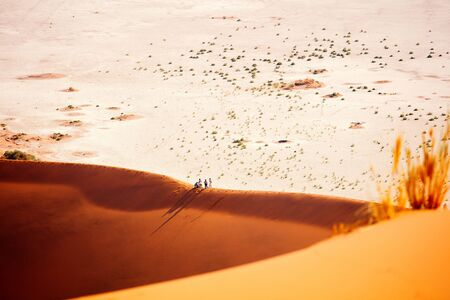 Photo for High view of red sand dunes and white clay pan of Deadvlei Namibia - Royalty Free Image
