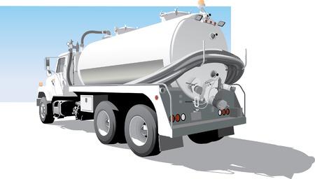 Illustration pour Pump Truck Back  Side View - image libre de droit