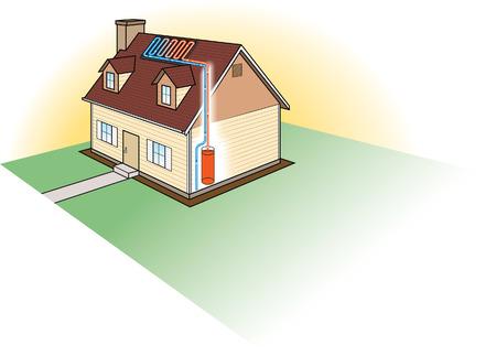 Illustration pour Solar Heating System - image libre de droit