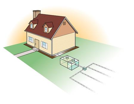 Illustration pour Septic System Diagram - image libre de droit