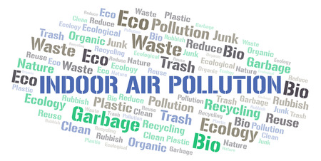 Illustration pour Indoor Air Pollution word cloud. Wordcloud made with text only. - image libre de droit