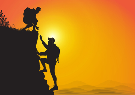 Illustrazione per Silhouette of two people hiking climbing mountain and helping each other on golden sunrise background, helping hand and assistance concept vector illustration - Immagini Royalty Free