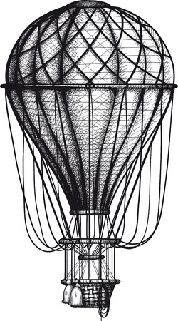 Ilustración de vintage Air Balloon drawn as engraving isolated on white background - Imagen libre de derechos