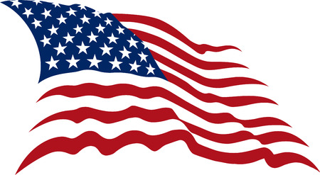Illustration for Waving American Stars and Stripes made in two colors isolated on white - Royalty Free Image