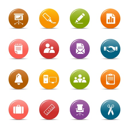Illustration pour Colored dots - Office and Business icons - image libre de droit