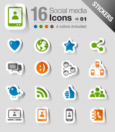 Illustration for Stickers -  Social media icons - Royalty Free Image