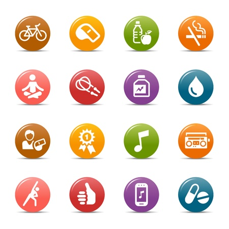 Photo pour Colored Dots - Health and Fitness icons - image libre de droit