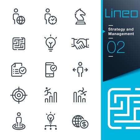 Illustration pour Lineo - Strategy and Management outline icons - image libre de droit