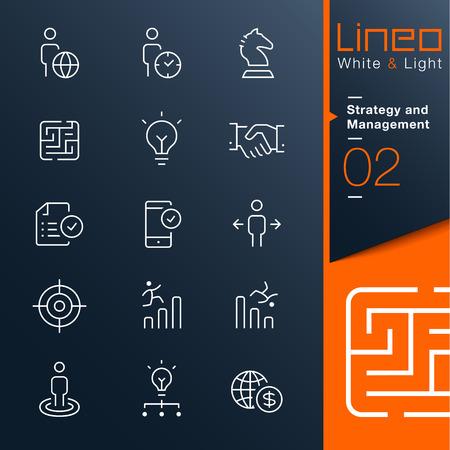 Ilustración de Lineo White   Light - Strategy and Management outline icons - Imagen libre de derechos