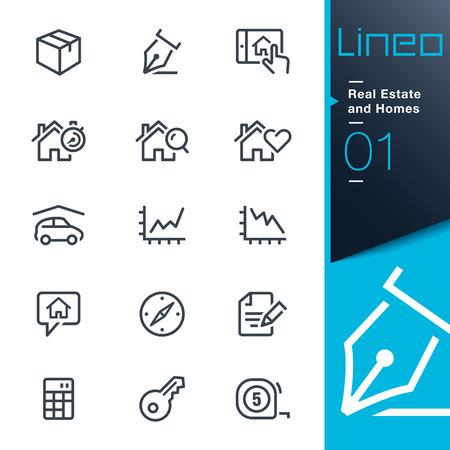 Illustration pour Lineo - Real Estate and Homes outline icons - image libre de droit