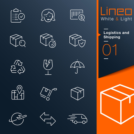 Photo pour Lineo White Light - Logistics and Shipping outline icons - image libre de droit
