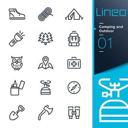 Illustration pour Lineo - Camping and Outdoor outline icons - image libre de droit
