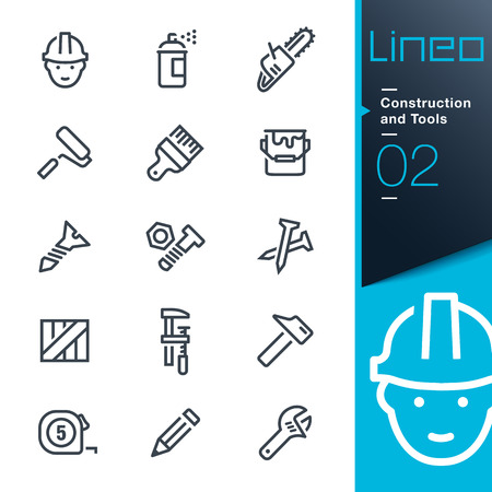 Photo for Lineo - Construction and Tools outline icons - Royalty Free Image
