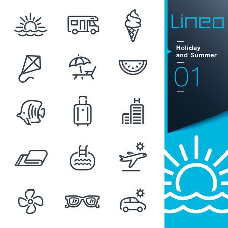 Ilustración de Lineo - Holiday and Summer outline icons - Imagen libre de derechos