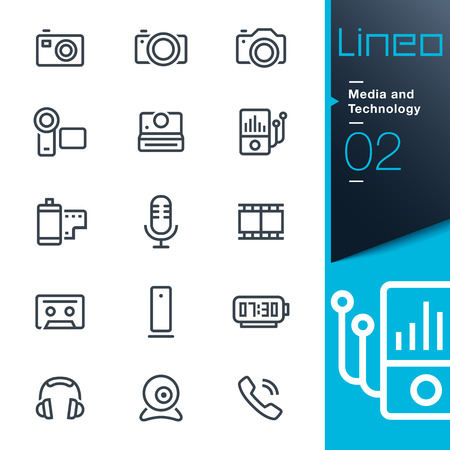Illustrazione per Lineo - Media and Technology outline icons - Immagini Royalty Free
