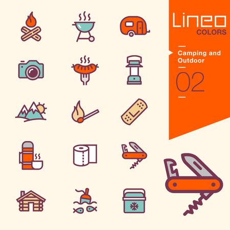 Illustration pour Lineo Colors - Camping and Outdoor icons - image libre de droit