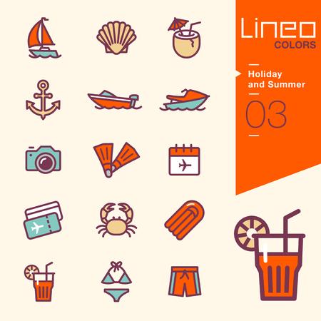 Illustration pour Lineo Colors - Holiday and Summer icons - image libre de droit