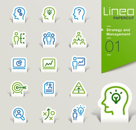 Ilustración de Lineo Papercut - Strategy and Management outline icons - Imagen libre de derechos