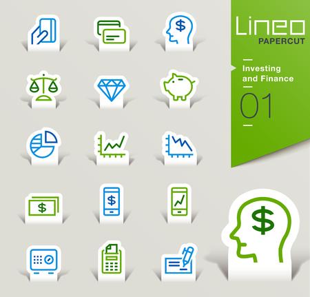 Ilustración de Lineo Papercut - Investing and Finance outline icons - Imagen libre de derechos