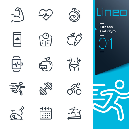 Illustration for Lineo - Fitness and Gym line icons - Royalty Free Image