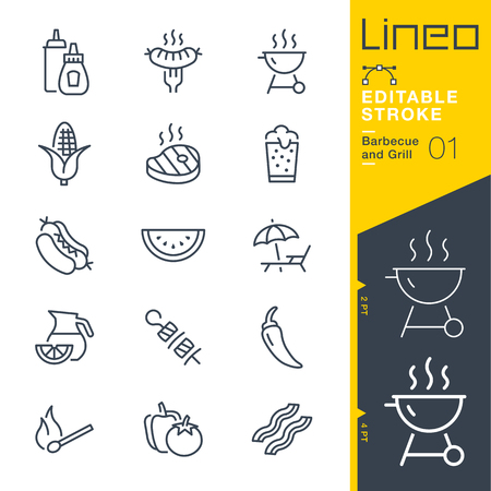 Illustration pour Lineo Editable Stroke - Barbecue and Grill outline icons. Vector Icons - Adjust stroke weight - Change to any color - image libre de droit