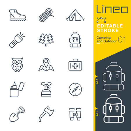 Illustration pour Lineo Editable Stroke - Camping and Outdoor outline icons Vector Icons - Adjust stroke weight - Change to any color - image libre de droit