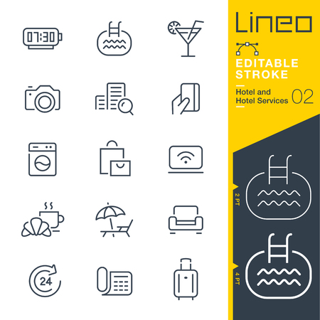 Illustration pour Lineo Editable Stroke - Hotel line icon Vector Icons - Adjust stroke weight - Change to any color - image libre de droit