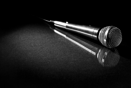 Photo for Image of microphone on reflective surface - Royalty Free Image