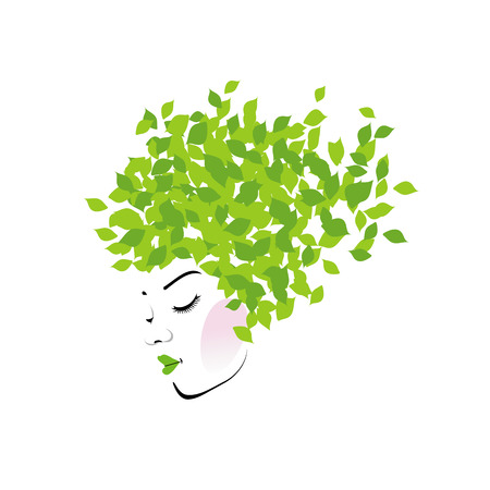 Illustration for Hair with green leaves - Royalty Free Image