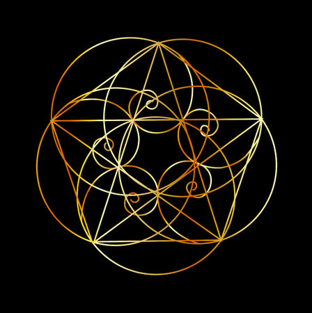 Illustration pour Fibonacci Spiral- The sacred geometry - image libre de droit