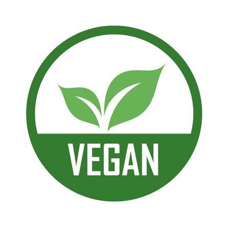 Illustration for Vegan logo with green leaves for organic Vegetarian friendly diet- Universal vegetarian symbol - Royalty Free Image