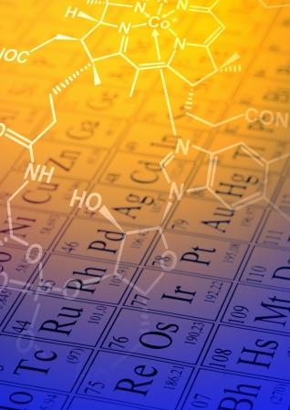 Foto de Molecule structural formula model on periodic table of the elements - Imagen libre de derechos